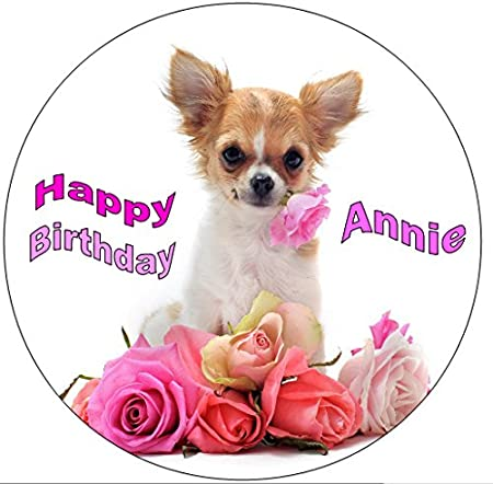 Pleasing Personalised Chihuahua Dog Birthday Cake Topper Wafer 7 5 Circle Funny Birthday Cards Online Unhofree Goldxyz