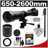 Rokinon 650-1300mm f/8-16 Telephoto Zoom Lens with 2x Teleconverter (=650-2600mm) + Monopod Kit for Pentax K-30, K-7, K-5, K-01, K-R Digital SLR Cameras