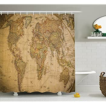 Amazon ambesonne vintage old world map globe wooden antiqued ambesonne wanderlust decor collection anthique old world map in retro color with vintage nostalgic design art print deco polyester fabric bathroom shower gumiabroncs Gallery