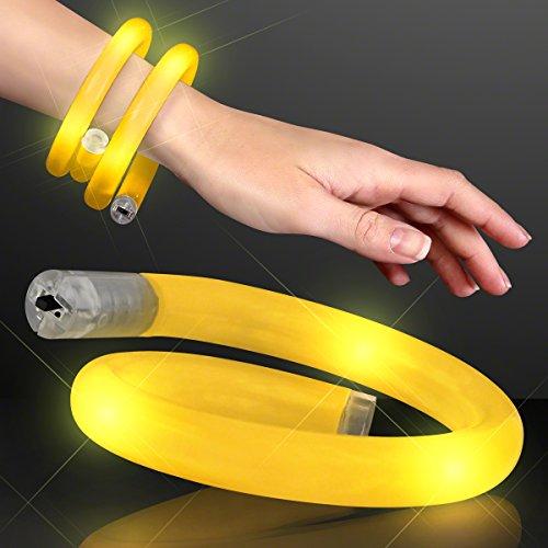 Yellow Flashing LED Light Up Wrap Around Tube Bracelets