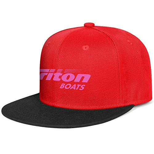 Fashion Caps Adjustable Triton-Boats-Fishing-Pink-Breast-Cancer-red Fitted Flat Hats