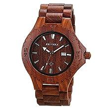BEWELL Mens Wooden Watch Japan Quartz Movement Handmade Sandalwood Watches with Auto Date Display Luminous