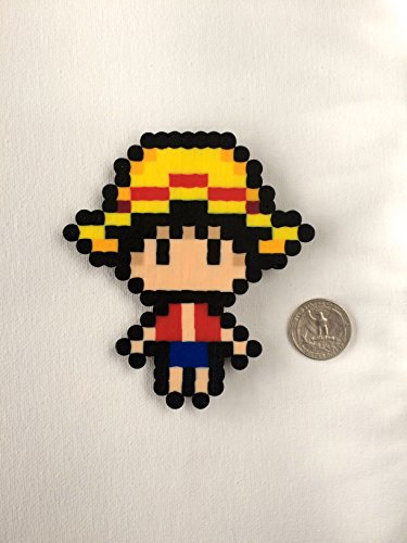 One Piece Magnet: Large Straw Hat Luffy Pre-Time Skip Handmade Perler Bead Magnet