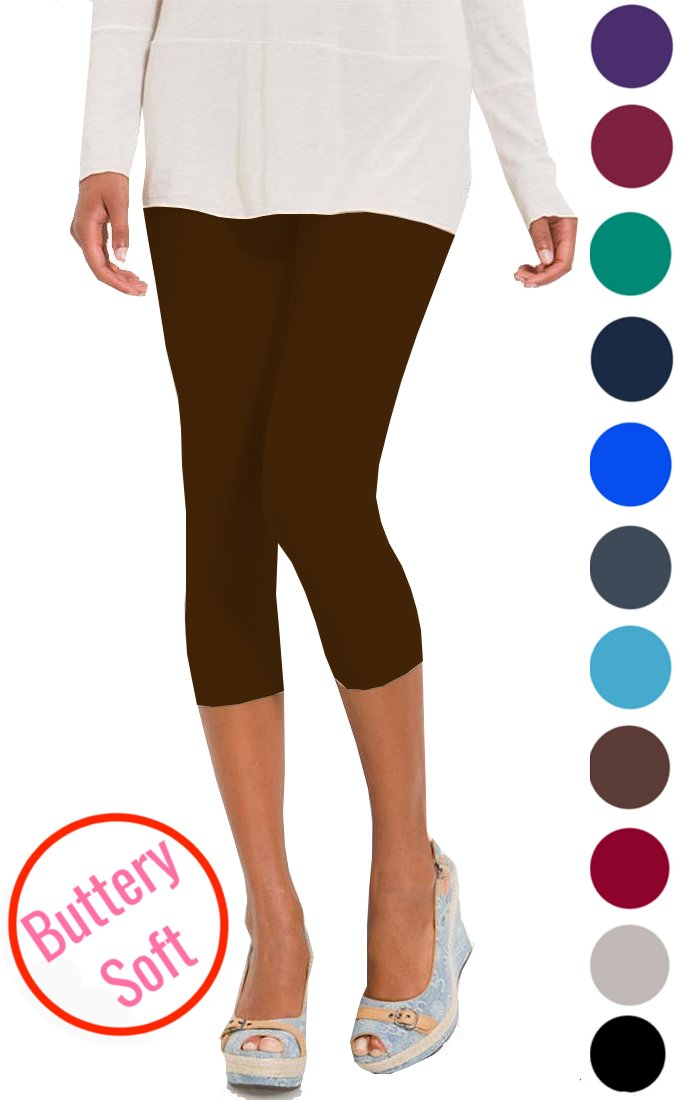 LMB Women's Soft Capri Leggings High Waist Style Stretch 40+ Colors LMB30452