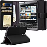 BlackBerry Passport Silver Edition Case, Tauri [Stand Feature] Wallet Leather Case with Stand, ID & Credit Card Pockets Flip Cover For BlackBerry Passport Silver Edition - Black