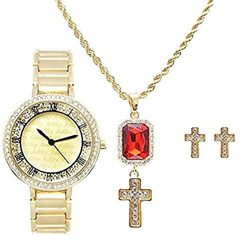 Cross Ruby aRed Charm Necklace and Matching Gold Cross Earrings with Bling Bling Gold Tone Designer Look Watch A Timepiece Jewelry Set fit for a Queen ruling her Empire - RRR11D - 8554 Gold Cross Set