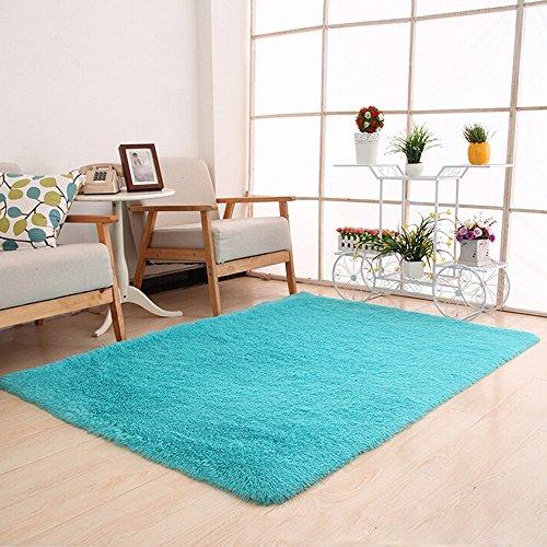 Clearance  Tuscom Silk Fluffy Anti-Skid Shaggy Area Rug,for Dining Room Home Bedroom Carpet Floor Mat,80 x 120cm (8 Colors) (Sky Blue)