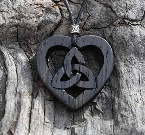 Hand-carved 5000 year old Irish Bog Oak Celtic heart trinity knot necklace, Unique Irish made gift