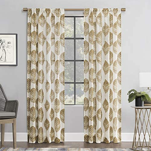 Scott Living Angelou Leaf Print Linen Blend Sheer Rod Pocket Curtain Panel