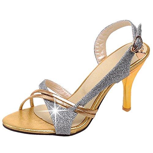 Silver Bout TAOFFEN de Chaussures Sandales Briller Slingback Ouvert Sangle Femmes Cheville wqqOPYxvR