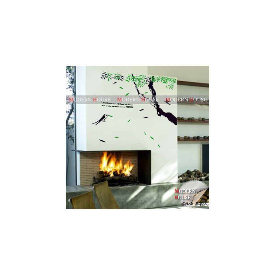 Modern House Love Tree Heaven and Birds removable Vinyl Mural Art Wall Sticker Decal