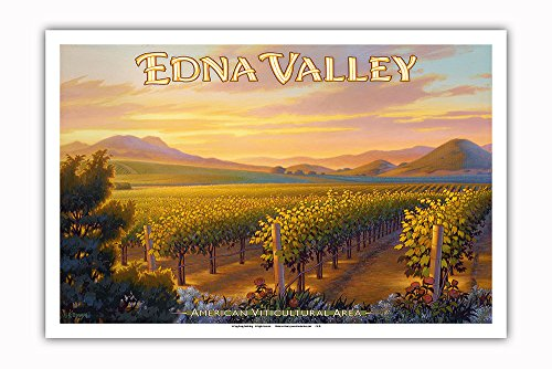 Pacifica Island Art - Edna Valley Wineries - Central Coast AVA Vineyards - California Wine Country Art by Kerne Erickson - Master Art Print - 12in x 18in