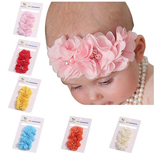 ROEWELL Cute Baby Girl Headbands Newborn Hair Bows Toddler Chiffon Hair Bows (6 Pcs)