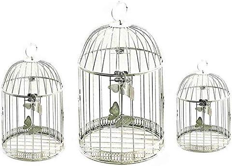 Bellaa 23622 Metal Bird Cage Antique White Set of 3