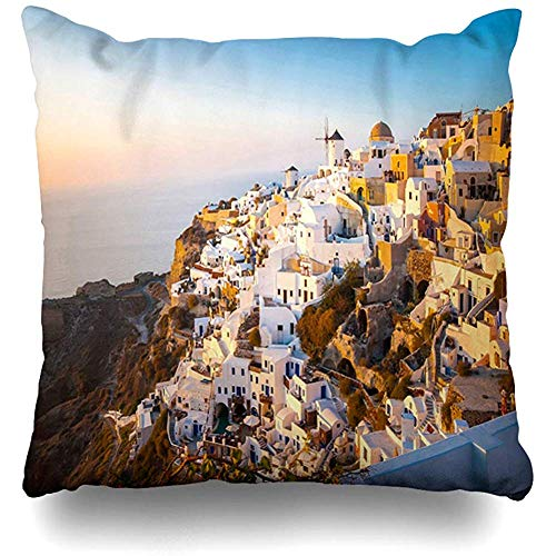(Throw Pillow Cover Square 18x18 City Blue Sunset Oia Santorini Greece Famous Romantic Nature Europe Aegean Zippered Cushion Case Home Decor Covers)