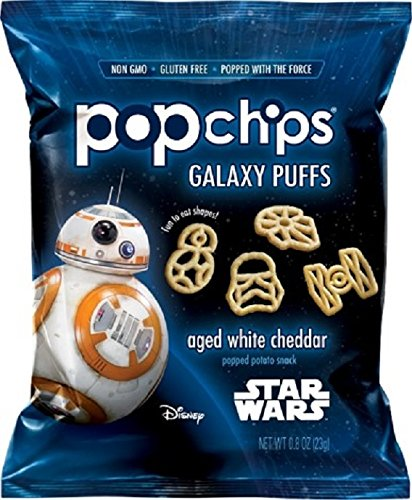 Popchips Potato Chips, Star Wars Shapes, Aged White Cheddar, 24 Count Single Serve Bags (0.8 oz), Gluten Free Star Wars Themed Potato Chips (Galaxy Brands Bag)
