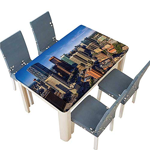 PINAFORE Decorative Tablecloth Calgary ab aug Downtown Calgary as viewed from The air on Table Cover for Dining Room and Party W49 x L88.5 INCH (Elastic Edge) (Room Calgary Tables Dining)
