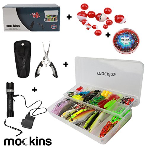 Mockins All in One Fishing Set Includes 139 Piece Fishing Lure Kit | Fishing Flashlight | 120g Fishing Sinker Kit | Fishing Pliers | 12 Pieces Fishing Floats Fishing Gear ()