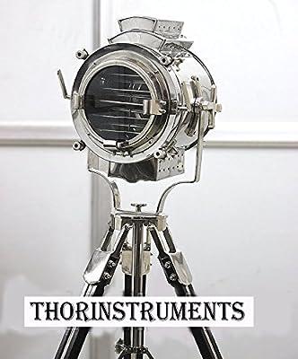 Vintage Modern Collectible Chrome Searchlight Home Black Screw Tripod Nautical Spotlights Floor Lamp