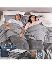 """Weighted Blanket 20lbs for Adults and Couples(True King Size, 88""""x104""""), Reversible Tencel/Short Plush Warming & Cooling 2 in 1 All Season Heavy Blanket - Bonus Carry Bag Included"""