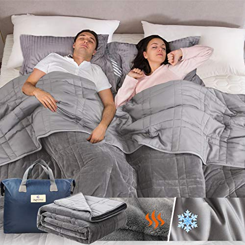 Double-Sided-Weighted-Blanket-King-Size-30lbs88x104-All-Season-Use-Warm-Short-Plush-and-Cool-Tencel-Reversible-Weighted-Blanket-California-King-Size-for-Adults-Couple-Carry-Bag-Included