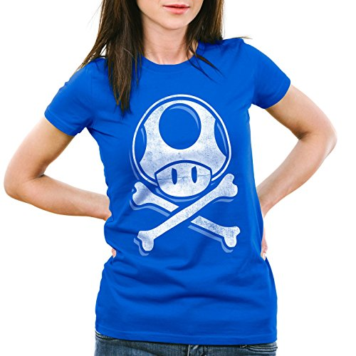 Blue Skull videojuegos World Toadskull Hormiga juego Super consola mujer camiseta Mario de IPxqv0Zw