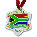 Personalized Name Christmas Ornament, South Africa Flag NEONBLOND