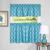 Serenity Home Trellis Bree Window Kitchen Curtain 3 Piece Tier Pair and Valance Set (58×36, Turquoise)