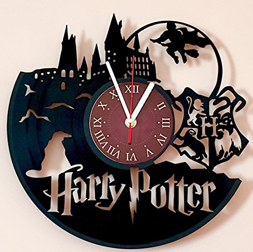 Harry Potter Clock - Harry Potter Hogwarts Vinyl Record Wall Clock - Get unique kids room or bedroom wall decor - Gift for him and her - Fantasy Movie Unique Modern Art