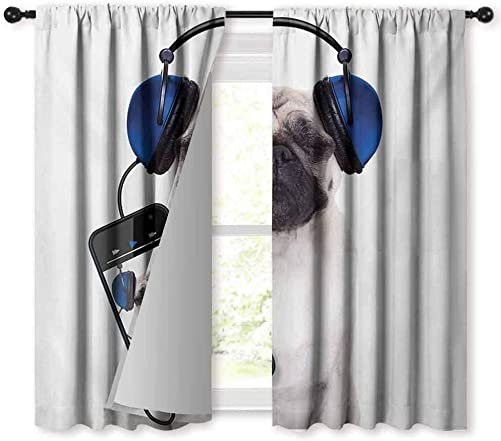 Mannwarehouse Pug Privacy Curtain Dog Listening Music on The Smartphone Groovy Cool Headphones Animal Funny Image Darkening and Thermal Insulating 72 Wx84 L Navy Blue Black