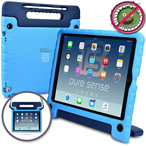 Pure Sense Buddy [Anti-Microbial Kids CASE] Child Proof case for iPad Pro 12.9-1st 2nd Gen 2015 2017 | Cover w/ Stand, Handle, Shoulder Strap (Blue) (Marching Case)