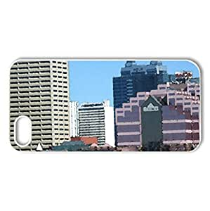 Down Town Edmonton Alberta - Case Cover for iPhone 5 and 5S (Skyscrapers Series, Watercolor style, White)