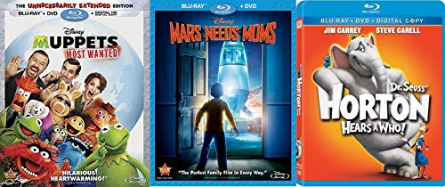 Disney and Dr. Seuss Bundle - Muppets Most Wanted, Mars Needs Moms & Horton Hears a Who! 3-Movie Blu-ray Family Fun Bundle
