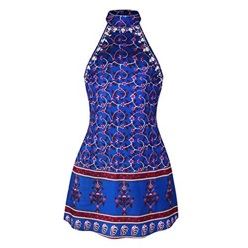 Manche Casual Plage Rond Cocktail Boho Dos Femme Imprimé Party Col Robes Bleu Tunique Soleil Nu Blouse Robe Été De Bretelle Sans 6vwOYqWaE