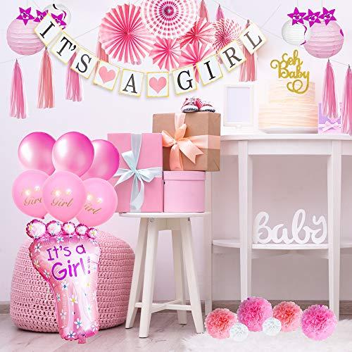 (Baby Shower Decorations for Girl I BabyShower Backdrop Decor I Girl Baby Shower Decorations Items I Its a Girl Banner Star Swirls Foot-Shaped Foil Balloon Tassels Lanterns Cake)