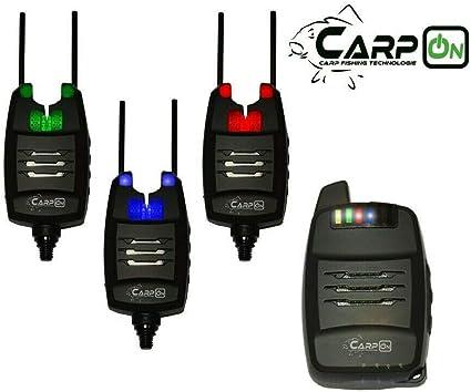 CarpOn Funk Bissanzeiger 3+1 Anti Diebstahl Funktion 1:1 Transportkoffer 180m