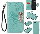 Amocase Wallet Case with 2 in 1 Stylus for iPhone 8 Plus,3D Bling Gems Owl Magnetic Mandala Embossing Strap PU Leather Card Slot Stand Case for iPhone 7 Plus/iPhone 8 Plus 5.5 inch - Mint Green