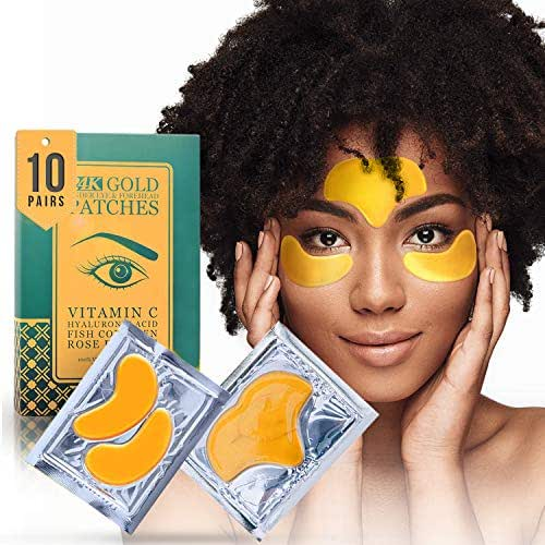24K Gold Collagen Under Eye and Forehead Patches by Matykos - Under Eye Mask for Dark Circles Bags Treatment - Dermatologist Approved - No Parabens, Natural, No Hidden Chemicals, Cruelty-Free - 10 Pcs