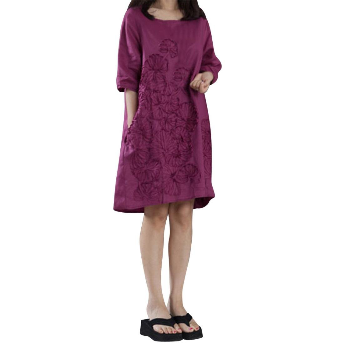 Pervobs T-Shirt, Big Promotion! Women Plus Size Half Sleeve O Neck Floral Patchwork Loose Swing Bohe Casual Dress (S, Purple)