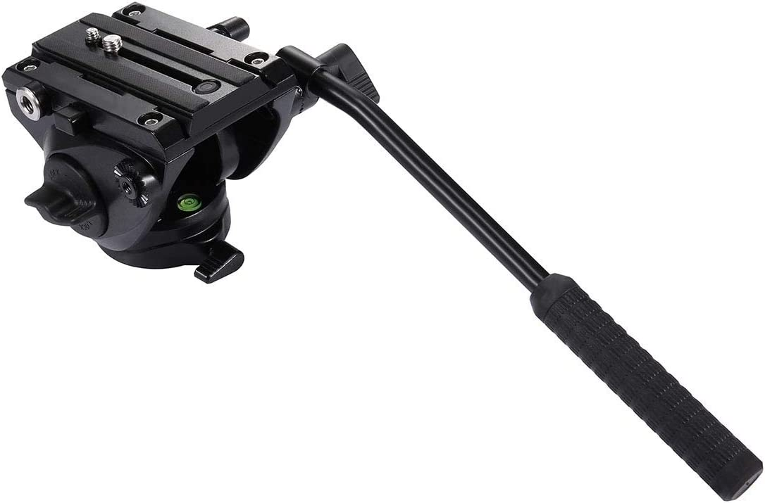 Large Size Black JIN Tripod Heads Heavy Duty Video Camera Tripod Action Fluid Drag Head with Sliding Plate for DSLR /& SLR Cameras Camera Accessory Color : Black