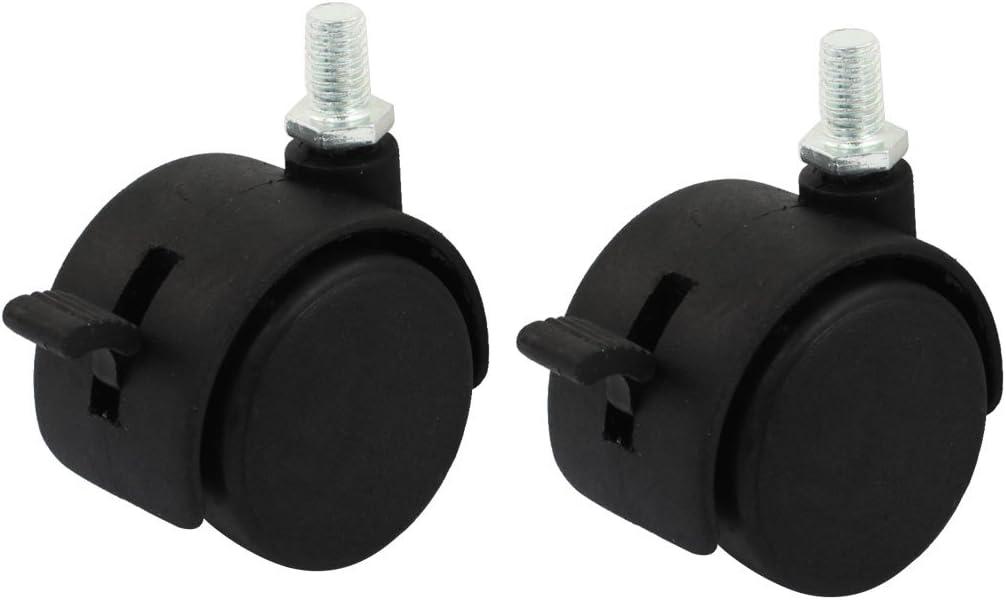 Aexit 2pcs 7.5mm filetage m/âle 1.5 roulette pivotante de conception double roue pivotante conception frein pour caddies