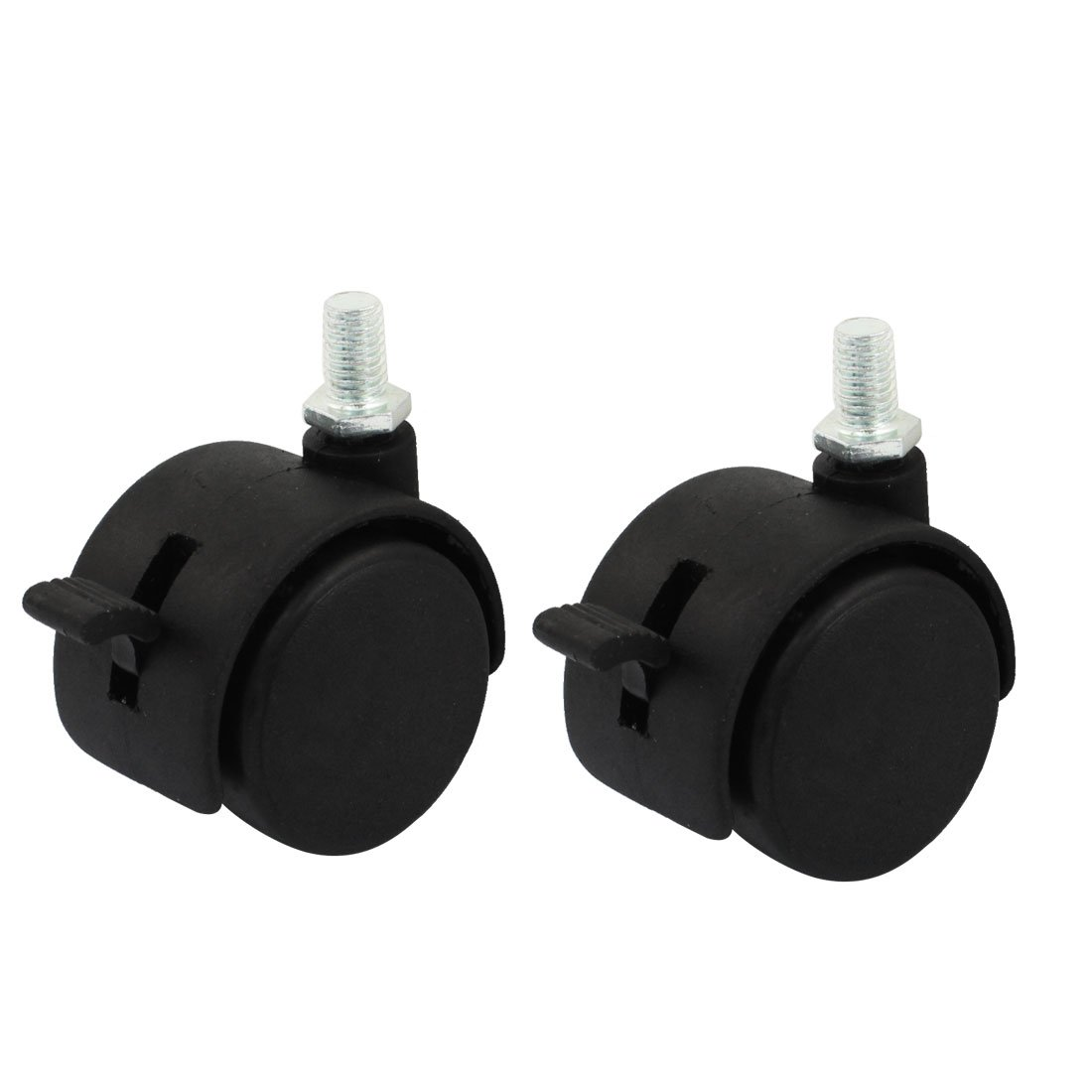Uxcell a14072300ux0399 2pcs 7.5mm Thread 1.5 Round Double Wheel Design Swivel Brake Caster