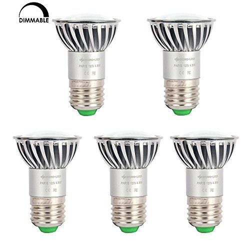 HERO-LED P16-DIM-24T-LN-DW Dimmable PAR16 E26/E27 Long Neck 120V LED Halogen Replacement Bulb, 120 Degree Wide Beam Floodlight, 4.8W, 50W Equivalent, Daylight White 5000K, 5-Pack