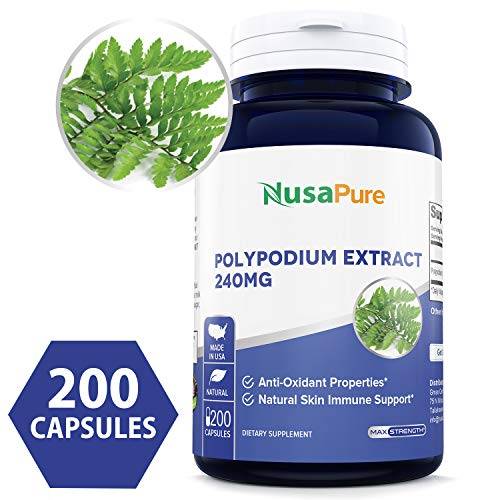 - Pure Polypodium Leucotomos Extract 240mg 200 Capsules (Non-GMO & Gluten Free) Antioxidant Properties, Natural Skin Care Dietary Supplement - Made in USA - 100% Money Back Guarantee!