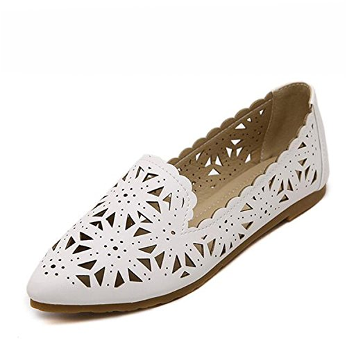 Pointed hollow out breathable flat sandals women white - 6