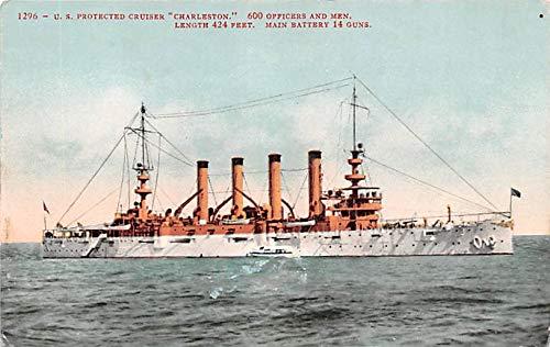(Military Battleship Postcard, Old Vintage Antique Military Ship Post Card US Protected Cruiser Charlestown Unused)