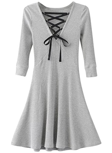 ACHICGIRL - Vestido - relaxed - Manga Larga - para mujer gris claro