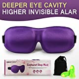 AMAZKER 3D Sleep Mask Upgraded Invisible Alar and Deep Orbit Eye Mask for Sleeping Anti-Fade Anti-Bacterial Anti-Mite Contoured Face Mask Blindfold with Ear Plugs Travel Pouch Best Night Eyeshade