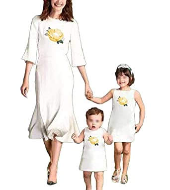 453becdedf935 Amazon.com: Mommy and Me Floral Family Matching Midi Dress Parent ...