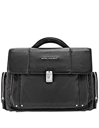Piquadro Organized Briefcase with Two Front Pockets and iPad Compartment, Black, One Size